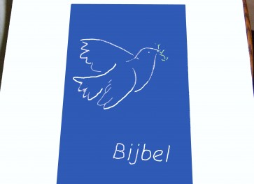 Hoes Handbijbel 12x18 lichtblauw met duif wit Messiaan H-1218024