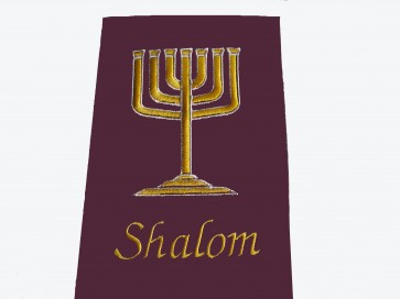 Hoes Handbijbel 12x18 bordeaux Menorah met shalom in goud. H12180009 Messiaan