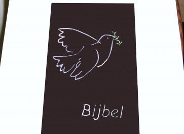 Hoes Handbijbel 12x18 bruin met duif wit Messiaan H-1218022