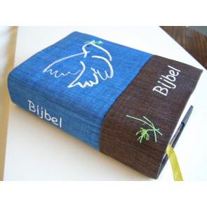 Hoes Handbijbel 12x18 blauw-bruin met duif wit Messiaan H-1218003