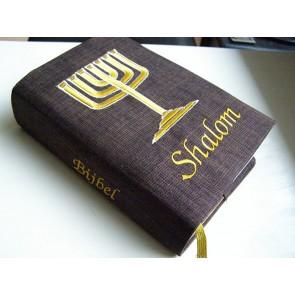 Hoes Huisbijbel 16x24 bruin met Menorah en Shalom goud Messiaan H-1624019