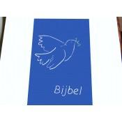 september weer leverbaar- Hoes Handbijbel 12x18 lichtblauw met duif wit