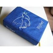 september weer leverbaar- Hoes Handbijbel 12x18 blauw met duif wit