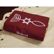 september weer leverbaar- Hoes Huisbijbel 16x24 bordeaux met Messiaans zegel wit