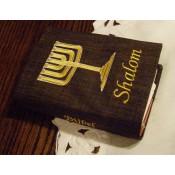 september weer leverbaar- Hoes Handbijbel 12x18 bruin met Menorah en Shalom goud